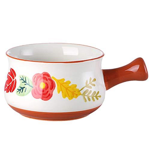 DOITOOL Pote de leche de cerámica Tazón de comida para bebés Utensilios de cocina Fideos Sopa Pot (Otoño)