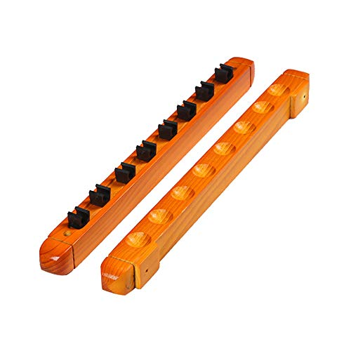 DENGS madera Rack de Billar,Soporte de Billar 8 Cue, Snooker Cue Rack,Porte-queues para Snooker,Pool Cue Rack/amarillo / 8 holes