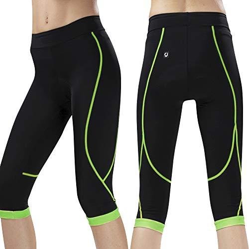 N+A d.Stil - Pantaloni corti da ciclismo da donna a 3/4, traspiranti, con imbottitura 3D, slim fit, S-XL verde M