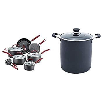 T-fal Ultimate Hard Anodized Dishwasher Safe Nonstick Cookware Set 12-Piece Red & B36262 Specialty Total Nonstick Dishwasher Safe Oven Safe Stockpot Cookware 12-Quart Black