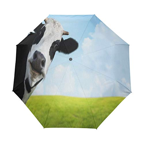 Bigjoke Regenschirm, zusammenklappbar, automatisch, mit Tiermotiv und Kuhmuster, Winddicht, für Reisen, leicht, UV-Schutz, kompakt für Jungen, Mädchen, Männer, Frauen
