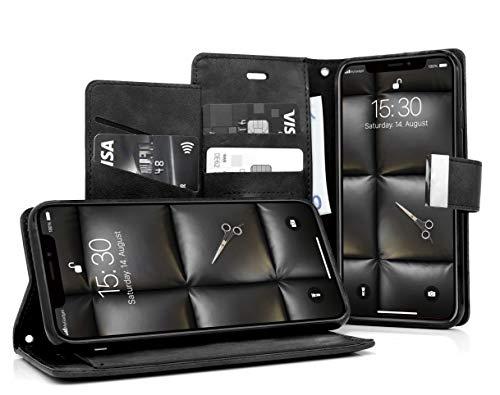 MyGadget Funda Flip Cierre Magnético para Apple iPhone X XS en Cuero Sintético PU - Carcasa Tarjetero con 5 Bolsillos y Soporte Plegable Anti Golpes - Negro