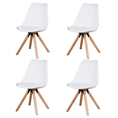 Herbalady 4/6 un conjunto de sillas de estilo nórdico de moda, tapizadas + patas de madera natural, utilizadas en varias ocasiones, multicolor opcional (Blanco-2, 4)