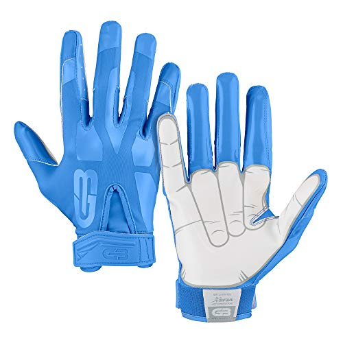 Grip Boost Peace, Shaka, and Hook 'Em Football Gloves Pro Elite - Adult Sizes (Light Blue, Adult Medium)