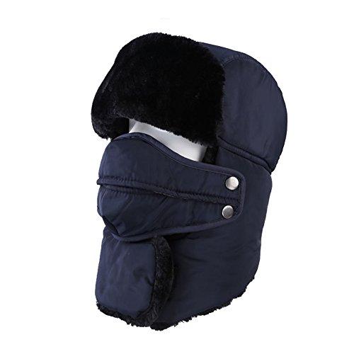 Leories Winte Windproof Warm Camouflage Mask Ear Flaps Outdoor Sports Walking Skiing Hunting Hat Dark Blue