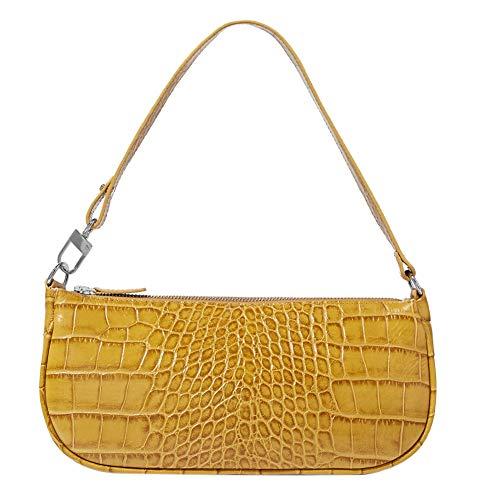 90er Jahre Schultertasche für Damen Vegan Leder Krokodil Geldbörse Klassische Clutch Handtasche Gr. One size, gelb