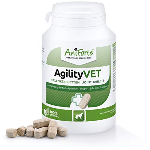 AniForte Gelenktabletten für Hunde AgilityVet 120 Stück - Natürliche Tabletten für Gelenke mit Grünlippmuschel, Teufelskralle, Collagen, Glucosamin, Chondroitin, Hohe Akzeptanz beim Hund
