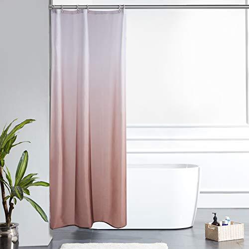 Furlinic Schmal Duschvorhang Badvorhang Textil aus Polyester Stoff Schimmelresistent Wasserabweisend Waschbar für Eck Dusche Kleine Badewanne Weiß nach Taupe 90x180 mit 6 Duschringen.