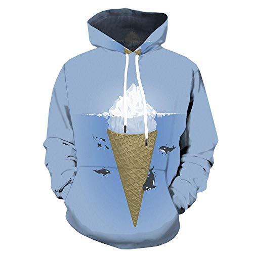BZNOO Unisex 3D Hoodie Ice Cream Printed Drawstring Hooded Pullover Long Sleeve Hoody Lightweight Sweatshirt Sportswear For Men Women With Pocket