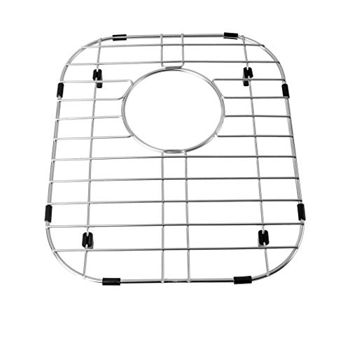 MONSINTA Kitchen Sink Grid and Stainless Steel Sink Protectors, Sink Bottom Grid, Sink Mats and Sink Racks for Bottom of Kitchen Sink, 11 5/8'' X 13 9/16'' with Rear Drain for Double Sink Bowl