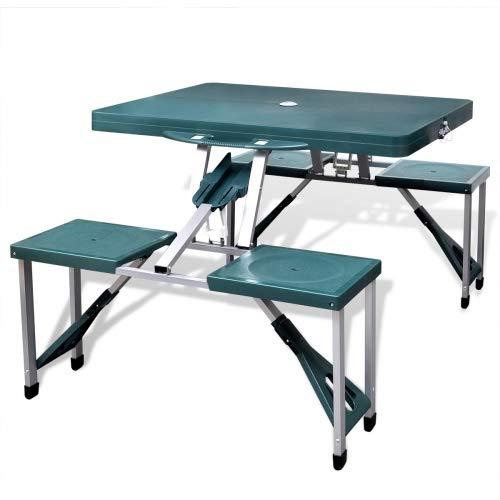 BAKAJI Set Tavolo Tavolino Pieghevole PIC NIC Campeggio Struttura in Alluminio con 4 Sgabelli Pieghevole a Valigetta, Ideale per Il Campeggio, Picnic, Mare, Spiaggia, Giardino (Verde)