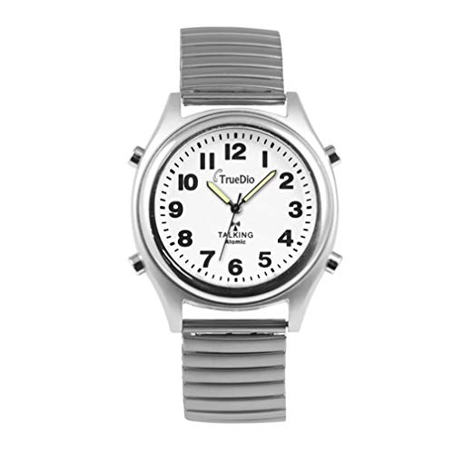 Atomic Talking Watch by Truedio - Men's Talking Wrist Watch for Visually Impaired with Stretch Band - Loud and Clear English Voice Speaks Alarm, Time, Day, Date, and Year