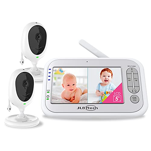 Baby Monitor, JLB7tech 5' Split Screen,Video Baby Monitor with 2 Cameras and Audio,Night Vision,Two-Way Talk,Long Range,Feeding Time,Lullabies,Temperature Detection,Power Saving/Vox,Zoom in