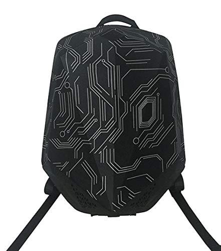 bbom 1712111201Música Mochila (de pa/Nailon), Dos Bluetooth–Altavoces HiFi y una Power Banco Integrado, Anti Robo de Cremallera, Impermeable Exterior Negro Decorado con Patrones