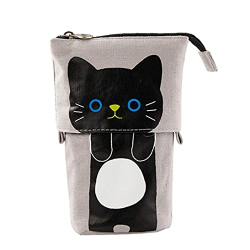Caja de lápices lienzo lápiz bolígrafo lindo dibujos animados gato caja cremallera abierta estiércol estuche tire hacia abajo retractable (negro), linda bolsa de lápiz