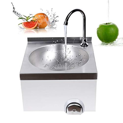 Edelstahl Ausgussbecken, Handwaschbecken mit Kniebetätigung Spülbecken Küchenspüle Spüle mit Wasserhahn Industrie Waschtisch für Gastronomie Küche