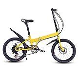 QYCloud Bicicleta Plegable Bicicletas de Velocidad, Bicicleta Mujer Ultraligero portátil, Velocidad Variable Mini Bicicleta 20 Pulgadas Macho Adulto