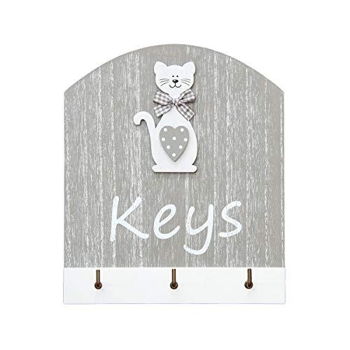 Ganchos para Llaves, Colgador de Llaves para Pared en Madera, Estante para Llaves, Organizador Colocar Llaves con el Texto Keys y 3 Ganchos con Figura Gato Cat Key Holder Gift