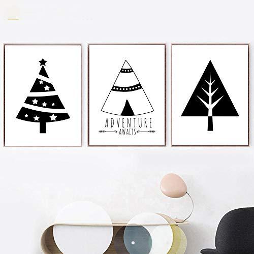 IGZAKER Zwart Wit Cartoon Tent Kerstboom Muur Canvas Schilderij Nordic Posters En Prints Muur Foto Baby Kinderkamer Decor-50x70cmx3pcs geen frame