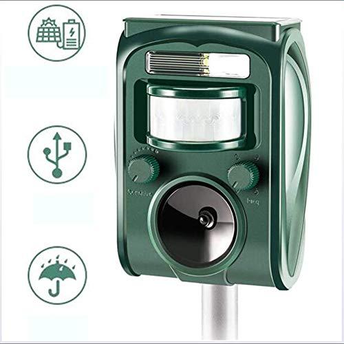 Repelente ultrasónico Cat Fox, cargador de carga USB con alimentación solar Scarer, repelente de animales activado por PIR con altavoces y luz intermitente,Verde