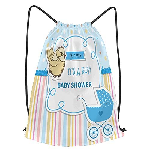 fudin Impermeable Bolsa de Cuerdas Saco de Gimnasio cochecito de encaje con marco de bebé a rayas Deporte Mochila para Playa Viaje Natación