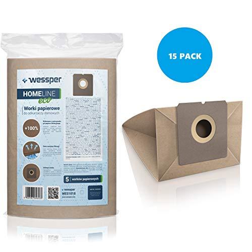 Wessper 15x Bolsas para aspiradora Fagor VCE 301 (Papel