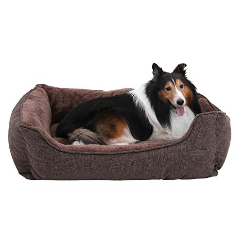 FEANDREA Washable Plush Dog Bed with Removable Cover, Dog Sofa, Brown PGW11CC