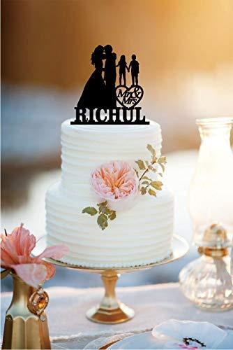 JeremyHar75 Hochzeitstortenaufsatz, Brautpaar mit kleinen Jungen und Mädchen, personalisierbar, Hochzeitstortenaufsatz mit Herz
