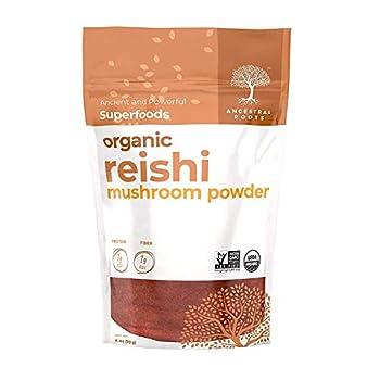 Ancestral Roots Organic Reishi Mushroom Powder - 100% Pure USDA Certified Organic Reishi Mushroom Powder – 4oz