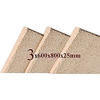 3x25mm Vermiculita Placa Tableros de Protección de Incendios 800x600x25mm Schamotte Repuesto