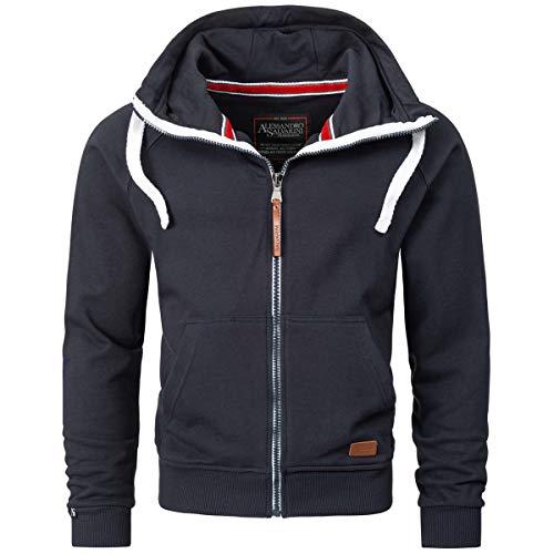 Alessandro Salvarini Herren Sweatjacke Kapuzenpullover Jacke Kapuze Hoodie Sweater, 3XL, Navy