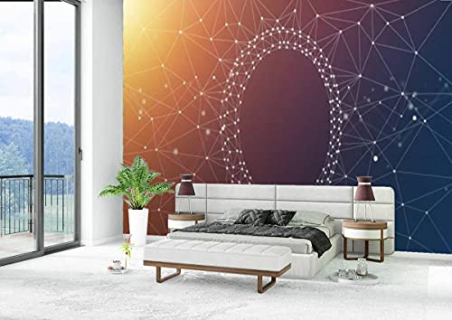 Canvas Wallpaper Self-Adhesive Removable Wall Painting Poster Sticker Craft Wall Sticker Network Frame and Abstract Background Home Decoration Bedroom Living Room