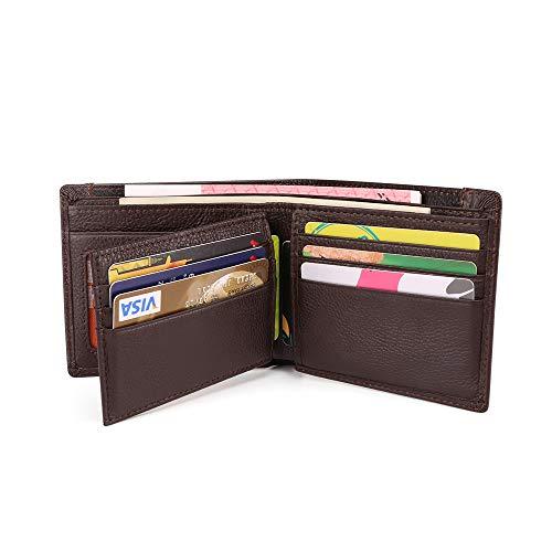 Leder Geldbörse Schlanke RFID-Blockierung Echtes Leder Geldbörse mit großer Kapazität, 2 Banknotenfächern, 10 Kreditkarteninhabern (ID-Fenster), 1 Führerscheinhalter und 1 Reißverschlusstasche
