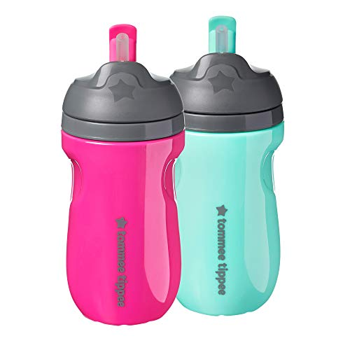 Tommee Tippee Insulated Toddler Straw Sippy Cup Tumbler, 12+ Months, Pink & Mint Green, 2 Count