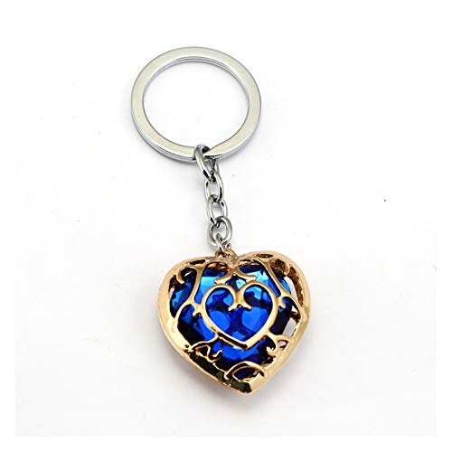 Keychain Keychain Blue Red Heart Crystal Key Ring Fashion Car Game Key Chain Pendant Gift (Color : Blue)