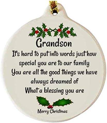 Inspirational Christmas Ornament for Grandson or Granddaughter from Grandparents  Customized Family Christmas Gift for Grandchildren