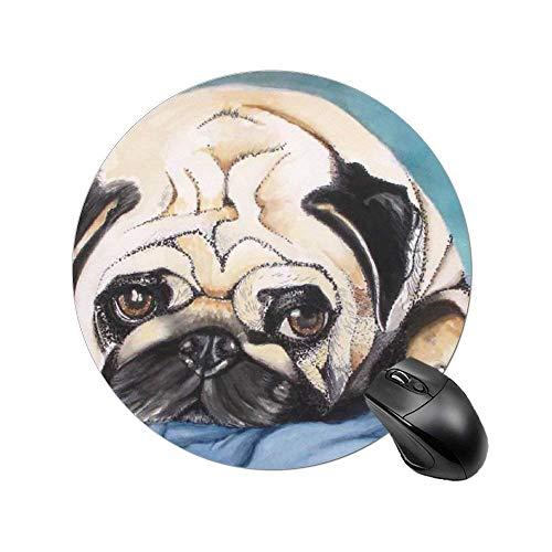 Rundes Mauspad, rutschfeste Mausmatte mit genähter Gummibasis, geräuschreduzierende Mauspads für Computer und PC (Cute Pug Dog Painting)