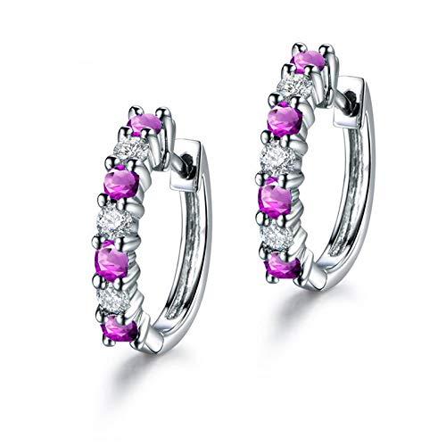 knsam Plata de ley 925mujer pendientes Real amatista pendientes de aro pendientes joyas para mujeres Tuerca bisutería