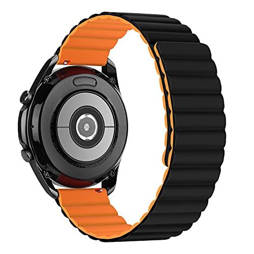 Tasikar 22mm Correas Compatible con Correa Samsung Galaxy Watch 3 45mm/Watch 46mm, Pulsera de Repuesto de Silicona con Cierre Magnético [Usable Doble Cara] para Huawei Watch GT2 46mm (Naranja-Negro)