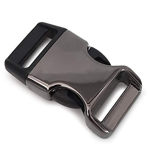 Ganzoo - Cierre de clip de metal y plástico, 8 unidades, 3/4'/cierre de clip/cierre de clip para pulseras de paracord, collares de perros, mochila, color: titanio/negro
