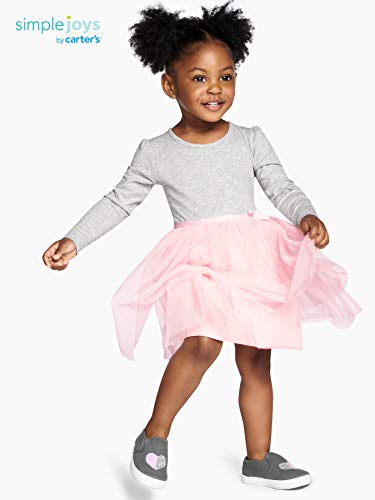 Simple Joys by Carter's Girls' Toddler 2-Pack Long-Sleeve Dress Set with Tulle, Pink/Gray, 4T