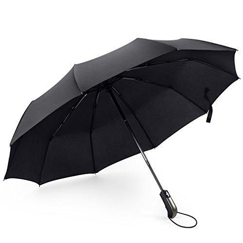 Regenschirm von Eye Effect - Taschenschirm - Groß mit 10 Edelstahl-Rippen Winddicht Kompakt Leicht Stabiler Schirm Voll-automatischer Auf-Zu-Automatik Transportabel Reiseschirm Unisex, Schwarz