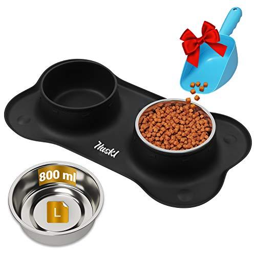 Hundenapf Katzennapf Fressnapf 2 x 800ml Schwarzer Knochenform mit Saugnapf mit Futterschaufel Futter- und Wassernäpfe für Haustiere aus Edelstahl mit rutschfestem Silikonboden