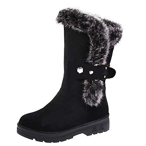 HUHU833 Damen Hohe Stiefel für Mädchen Elegant Schwarz Slip-On Soft Schneestiefel Stiefeletten Winter Warm Gefütterte Winterboots Winterstiefel Boots Schuhe (Schwarz, EU:39)
