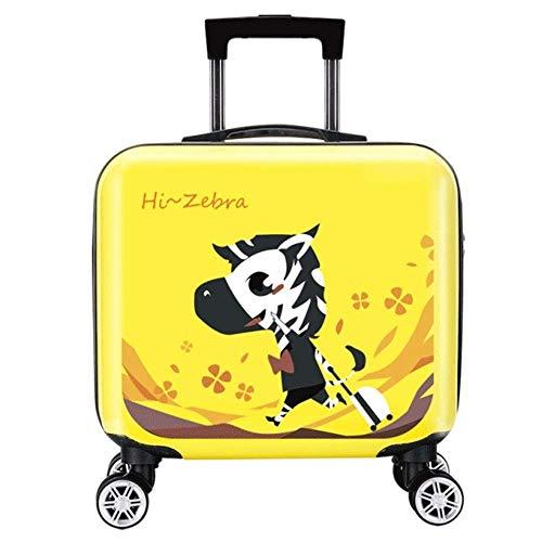 ANGELCITY 子供用 スーツケース キッズキャリー キャリーケース キャリ ーバッグ トランク 機内持ち込み 動物柄 可愛い おもちゃ箱 女の子 男の子 キッズ用 旅行かばん 誕生日プレゼント 軽量 旅行 小型 A1940 (イエロートラベルリトルシ