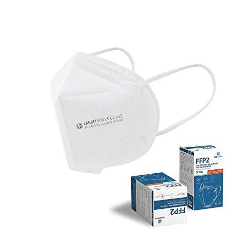 LANGCI Mascarillas FFP2 Homologadas (50 UNIDADES) | Mascarilla de Protección Respiratoria | EN 149:2001 + A1:2009 FFP2 NR CE 2163 | Color Blanco | 5 Capas – Alta Eficiencia de Filtración