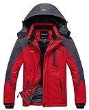 Wantdo Homme Anorak Veste Coupe-Vent Manteau Imperméable Étanche à Capuche Coupe-Pluie Sportif Rouge X-Large