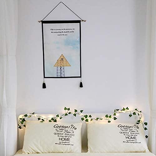 Guirnalda de luces LED de plantas artificiales, guirnalda de hiedra falsa, enredaderas, hojas verdes, plantas falsas de vid que cuelgan, para colgar para el hogar, jardín, oficinadecoración de pared