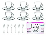 'LAV' 3.2-Ounce. Small Demitasse Clear Glass Espresso Drinkware, Set of 6 Cups/Saucers + Set of 6 Stainless Steel 18/10 mini Espresso Spoons! Hostess By ROMI marketing
