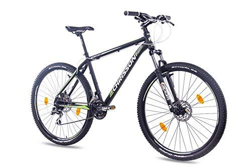 Chrisson Hardtail Mountainbike, 29 inch (29 inch), Hitter SF zwart, hardtail mountainbike met 24 Shimano Deore-derailleurversnellingen, voor dames en heren, zoom, verende voorvork